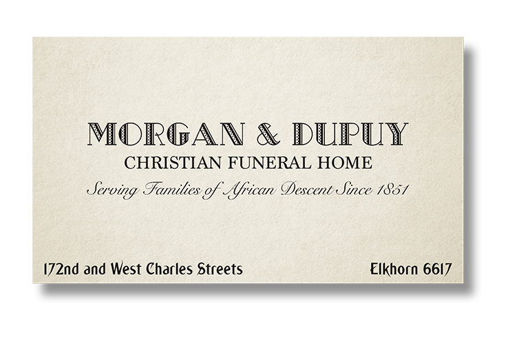 Dead Man's Stomp: Business Card Front Funeral Home