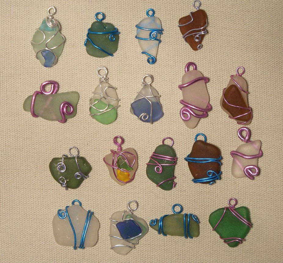 Wire wrapped beach glass pendants by abaacreation on deviantart wire wrapped beach glass pendants by abaacreation aloadofball
