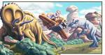 La maquina del tiempo  Triceratops y T Rex by SergiErra