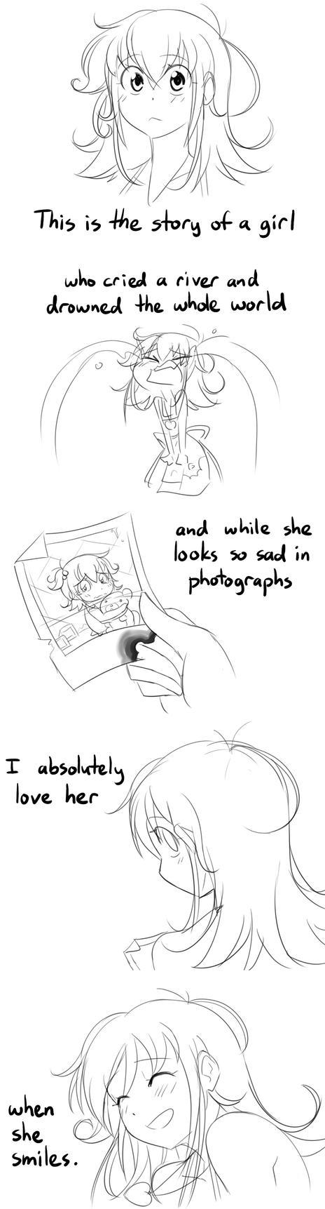 Her pretty face she hid from the world by Matsu-sensei