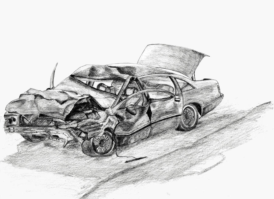 how to draw a wrecked car