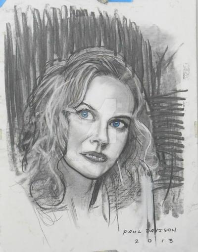Nicole Kidman,charcoal by pauldavisonart