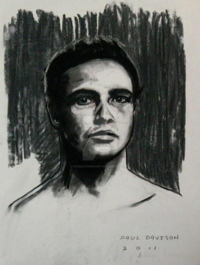 Marlon Brando,charcoal by pauldavisonart