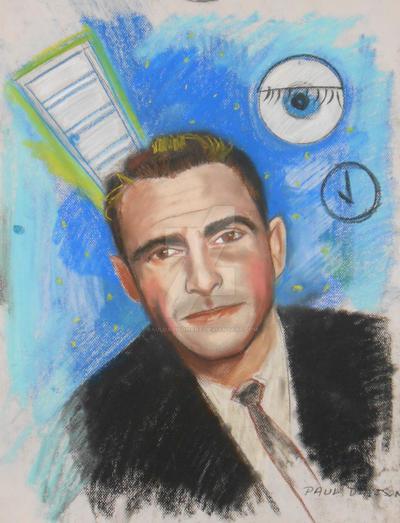 Rod Serling,pastel by pauldavisonart