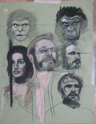 Planet of The Apes charcoal study by pauldavisonart