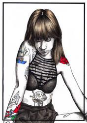 Tattooed girl by EruannieCaline