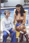 sexy Wonder Woman checking out her own  breasts
