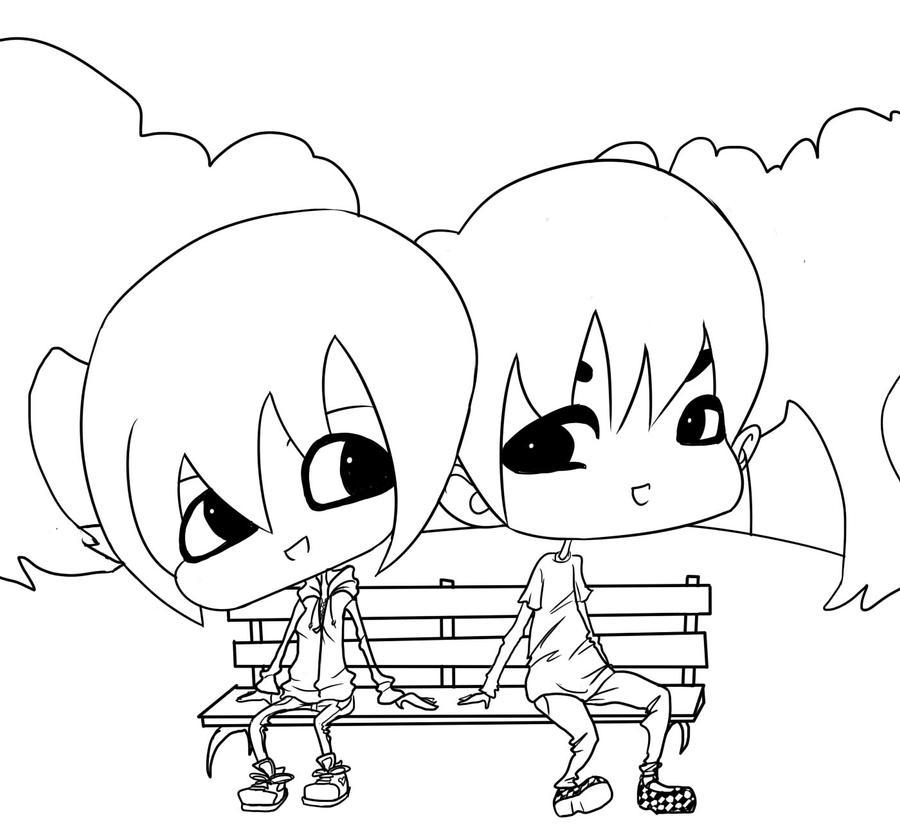 Chibi couple lineart by KAR10SA on DeviantArt