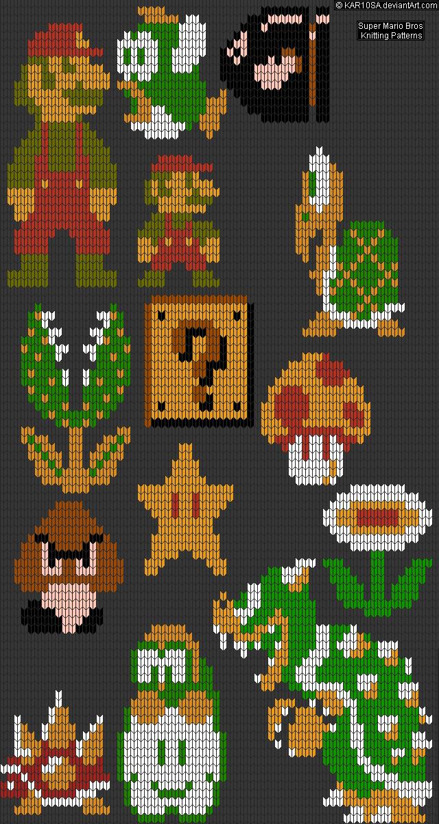 Mario Knitting Pattern : NES Super Mario Bros Knitting Patterns by KAR10SA on DeviantArt
