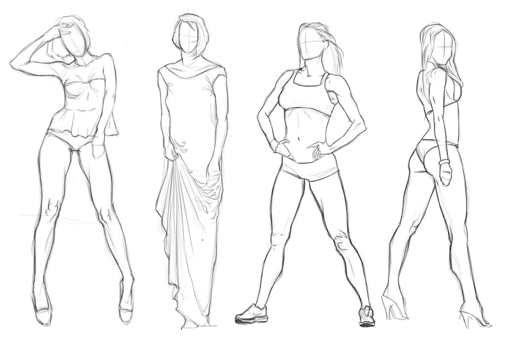 It's just an image of Comprehensive Female Body Line Art