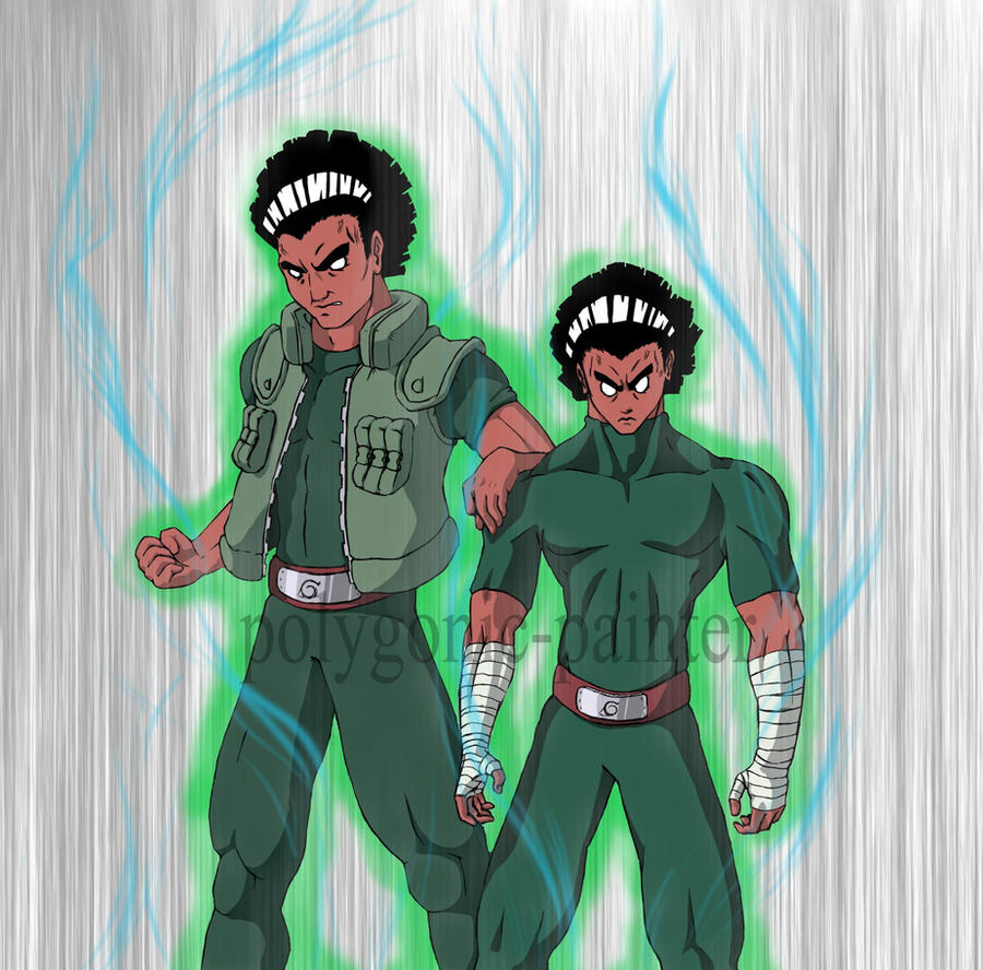 guy , rock lee with open gates by polygonic-painter