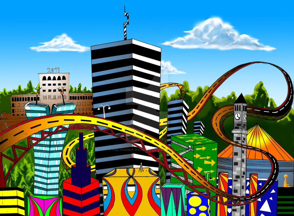 My psychedelic city Tirana by polygonic-painter