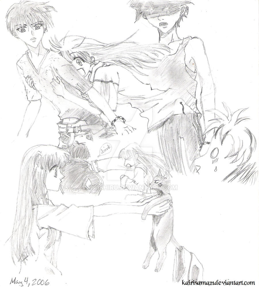 -- Fruits Basket: Kyo And Tohru Sketches -- By Kaishiru On