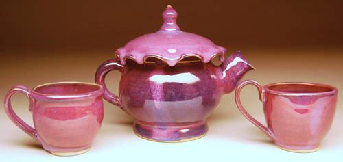 Purple Drip Teapot and Cups by de-profundis-clamavi