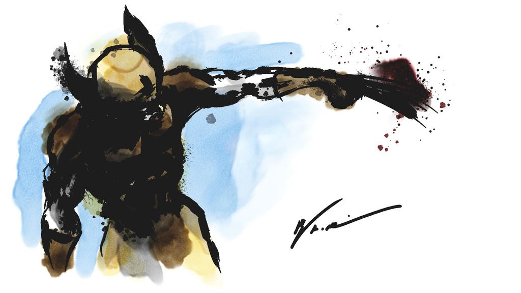 Wolverine ink wash practice by RubberGardener