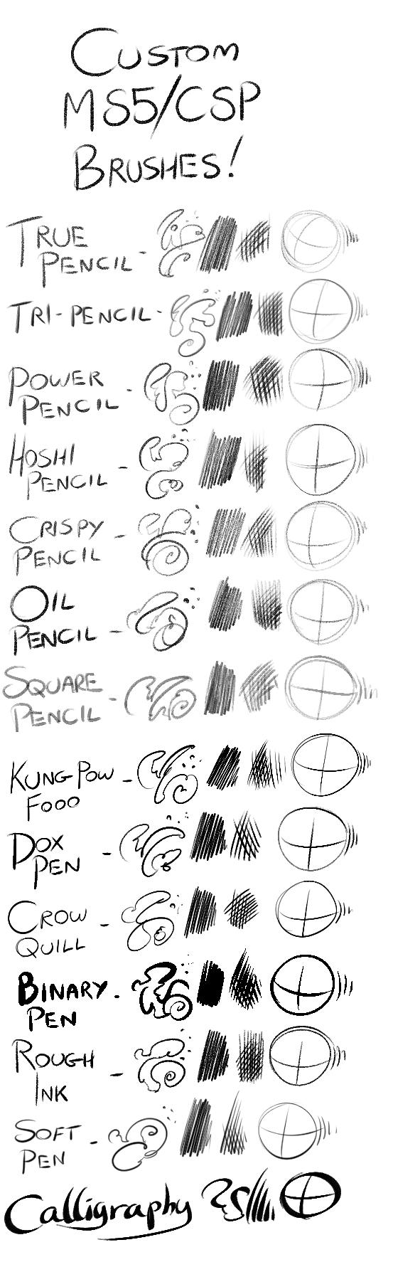 Custom Manga Studio/Clip Studio Paint Brushes by TheInkyWay