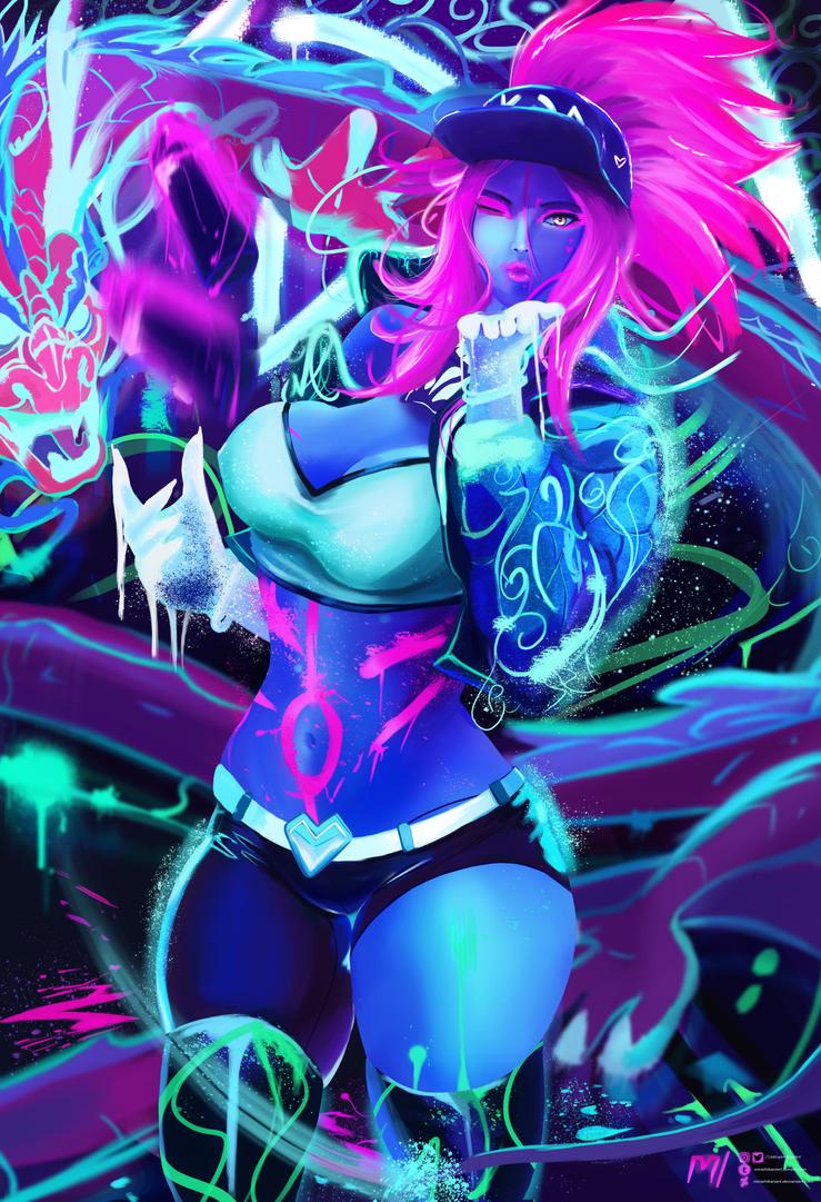 Commission | K/DA Akali Neon | League of Legends by MiraiHikariArt