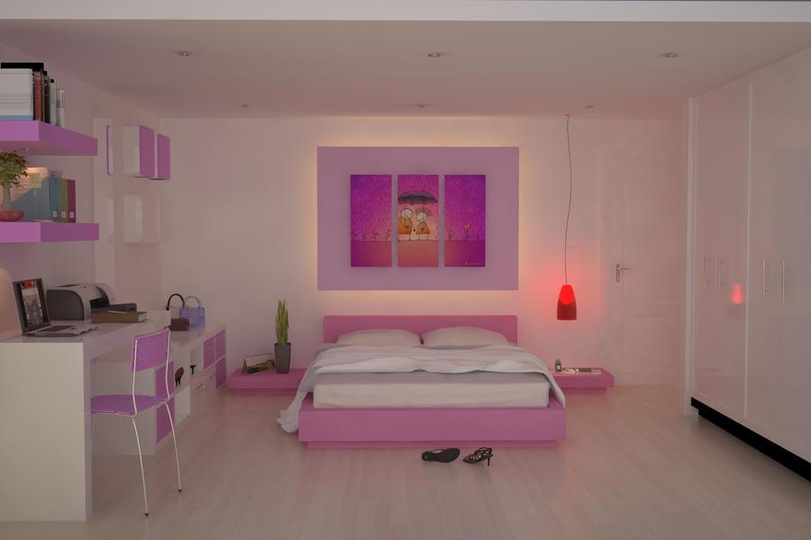 Recamara rosa by retcmloco on deviantart for Decoracion para pared de recamara