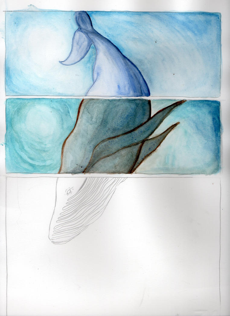Whales Watercolour Study by Gwendm