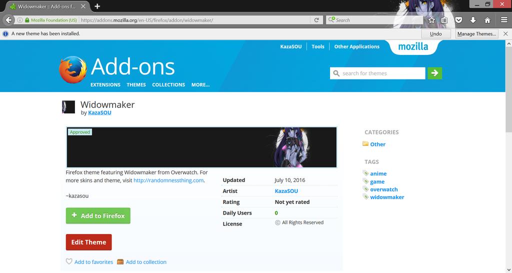 Widowmaker Firefox by Kaza-SOU