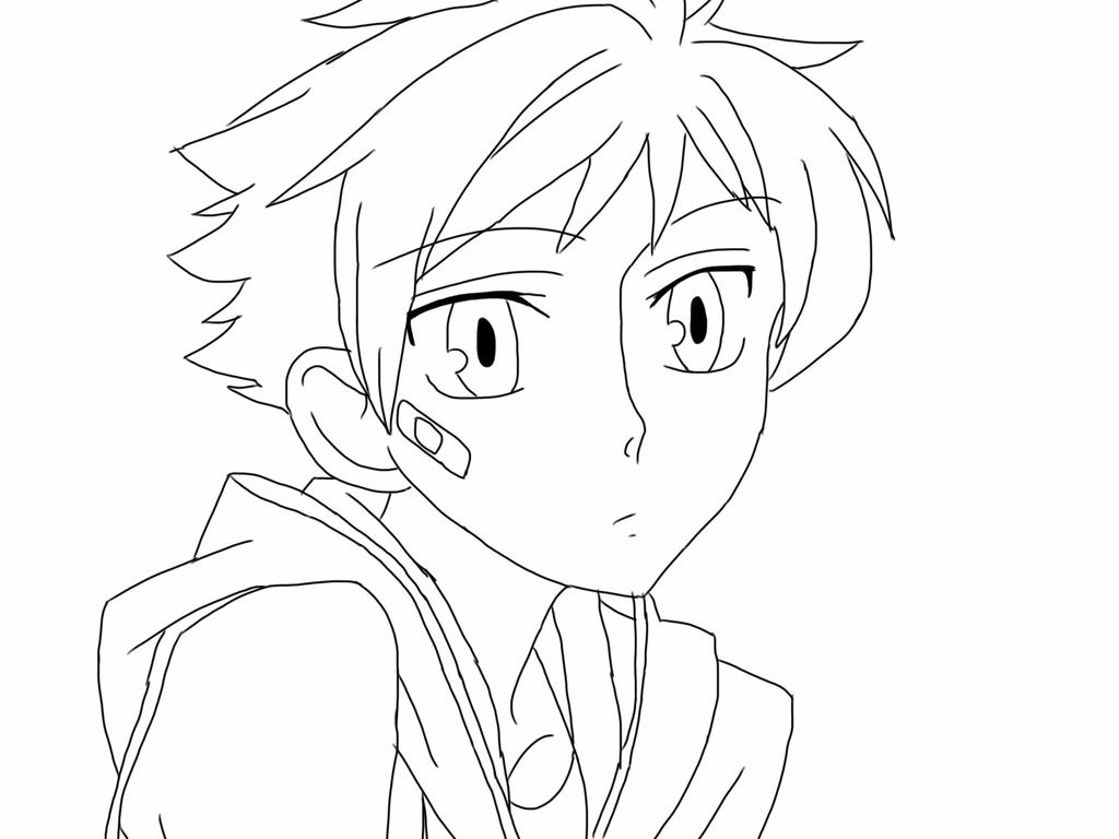 anime guy in hoodie coloring pages