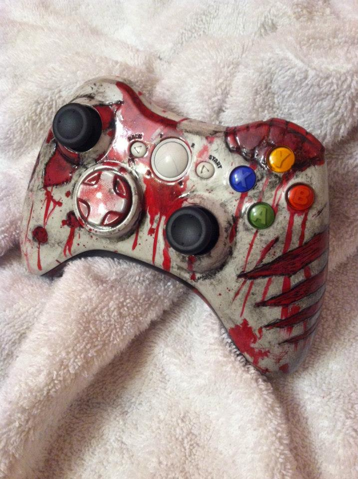 Zombie carved and painted xbox controller by