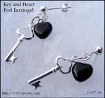 Key and Heart Post Earrings