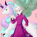Bede with G-Rapidash and Reuniclus by ZeraFoster