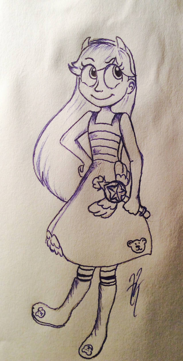 Star butterfly pen and pencil sketch by dramaticdisney626