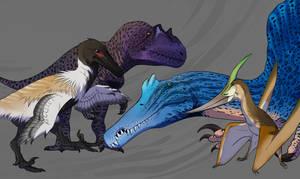 3 Dinos, 1 Pterosaur
