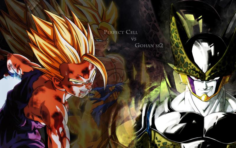 super saiyan 2 gohan vs cell wallpaper dekstop perfect cell vs gohan