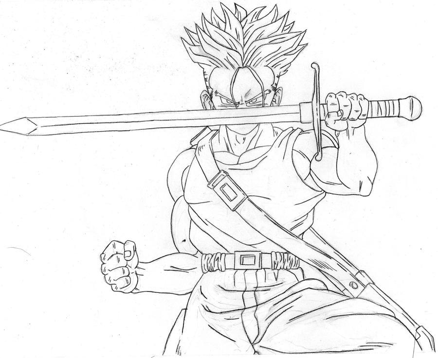 dragon ball z coloring pages trunks dbz | Draw Future Trunks Dragon Ball Z || Nola - TGA by ...