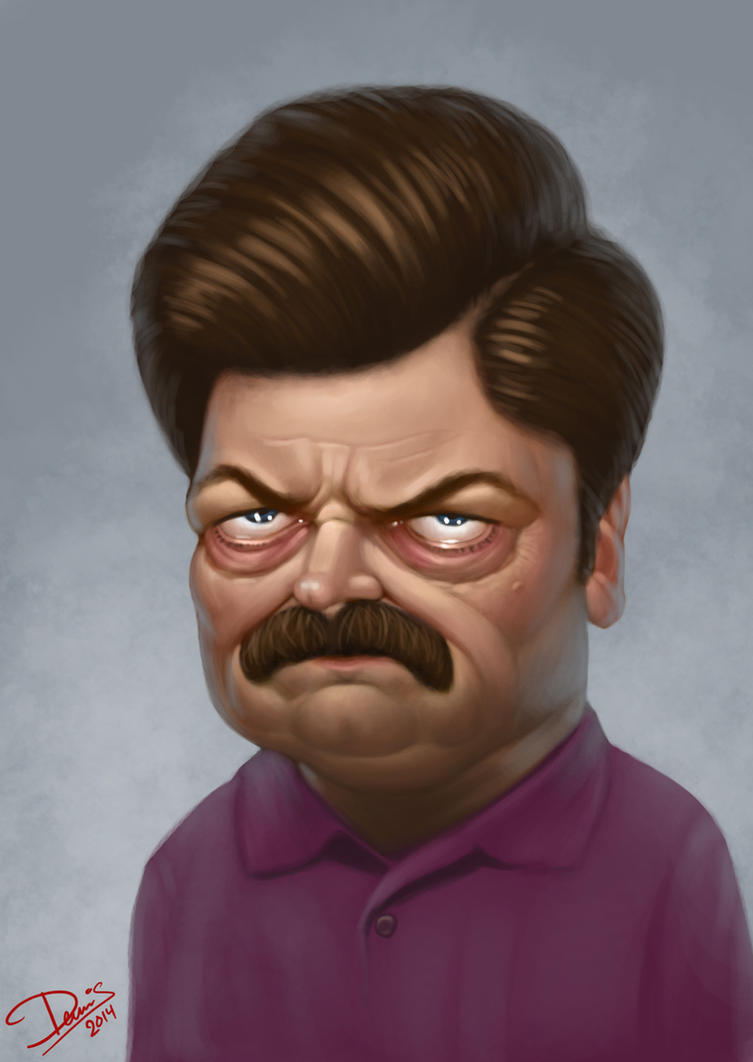Ron Swanson Caricature by Disse86