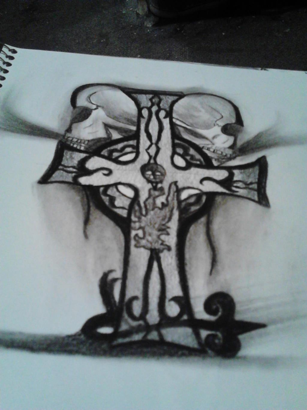 Celtic cross and skull tattoo design by chynna97 on deviantart for Celtic skull tattoo