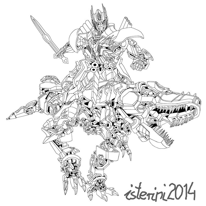 Optimus ridding grimlock by isterini on deviantart for Grimlock coloring page