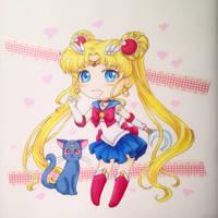 Chibi Sailor Moon and Luna by Dawnie-chan