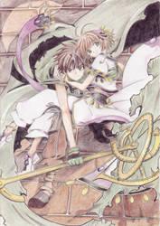 Syaoran protecting Sakura by Dawnie-chan
