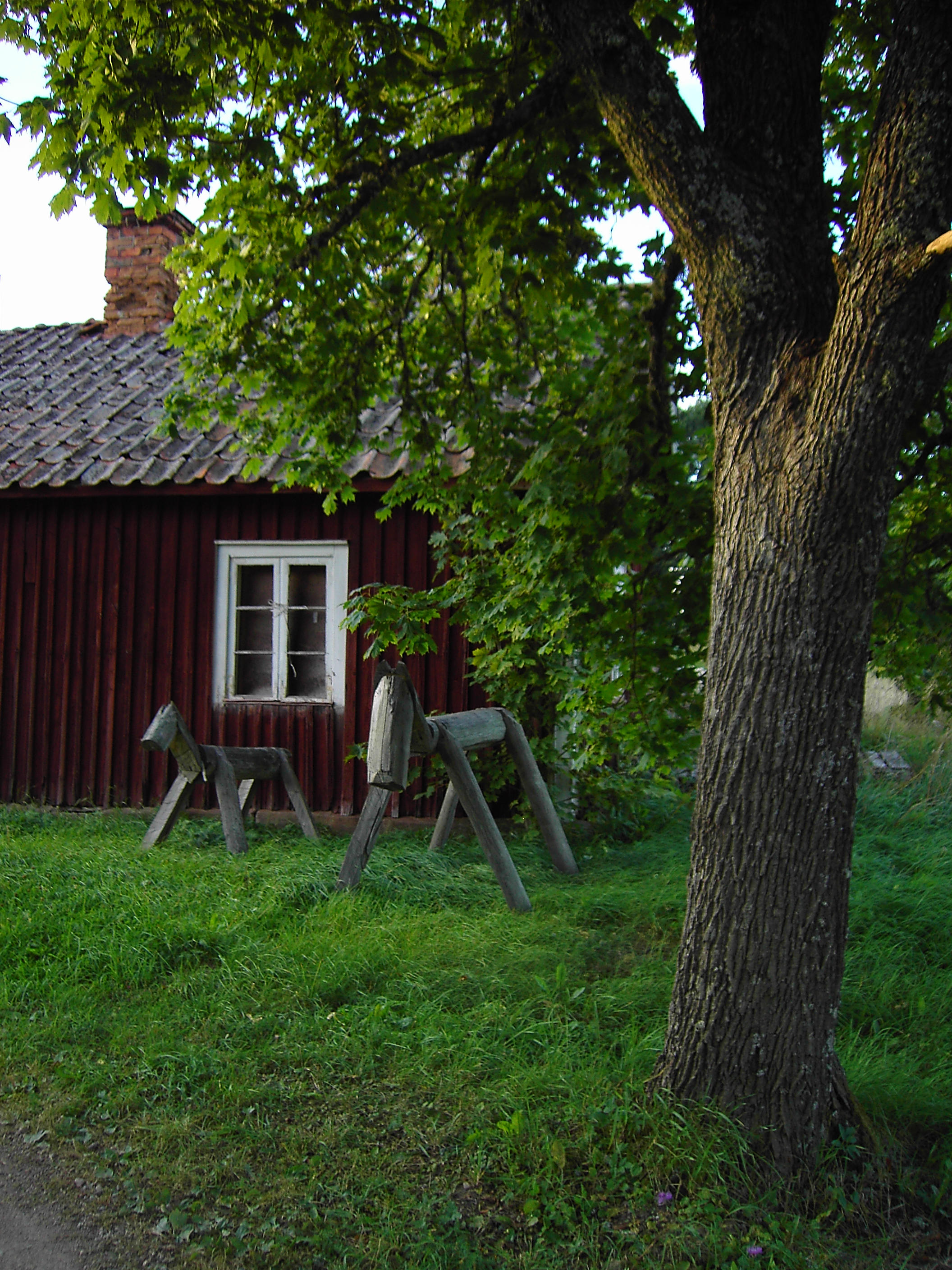 house, tree and wooden horses by akinna-stock