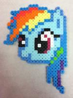 -Perler- Rainbow Dash Head by OtakuLuka