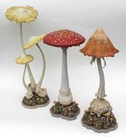 Mushroom Sculptures x3