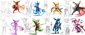 eeveelution warriors  Character Designing