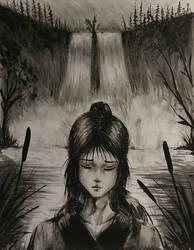 Waterfall Lady by ShupaMikey