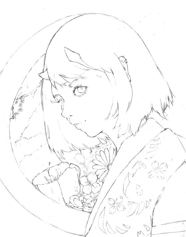 Setsubun - LineArt by AlitaLaFaith