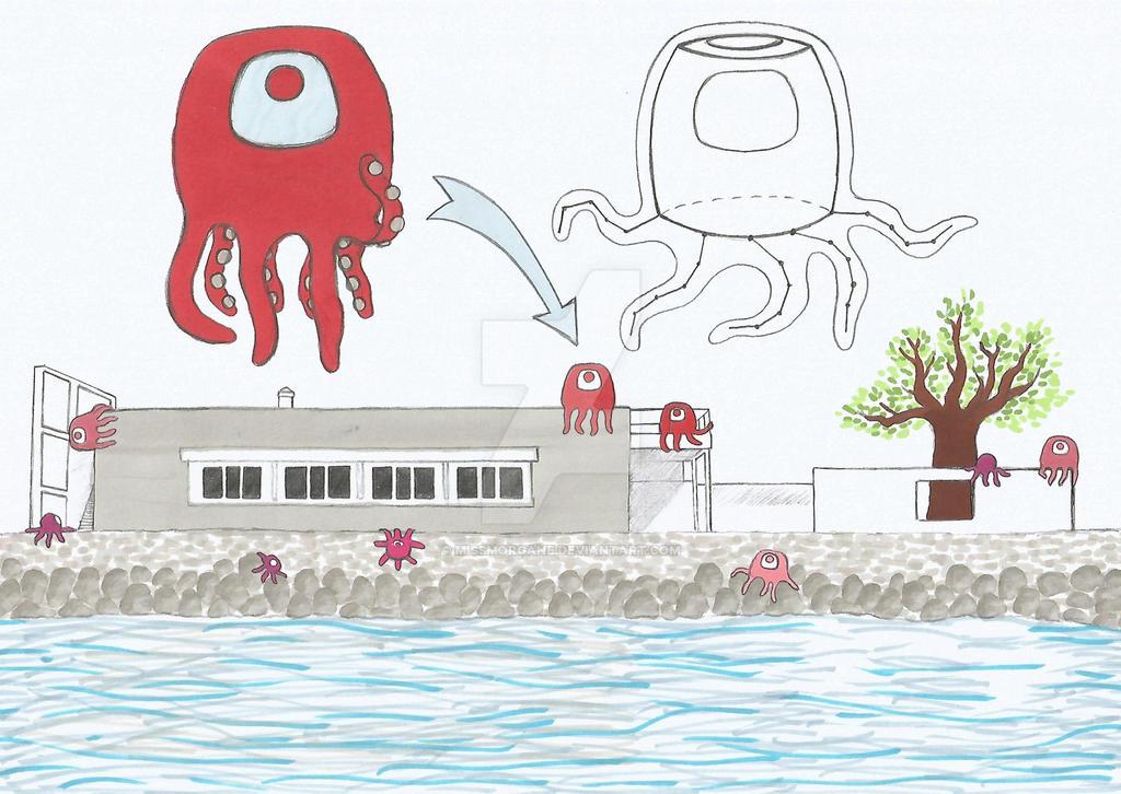 Octopus-like houses by MissMorgane