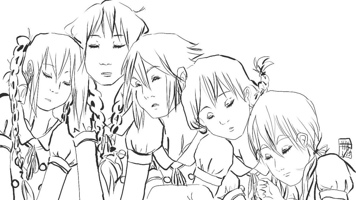 K-On sleepy groupshotLINE by KitsunekoShojo