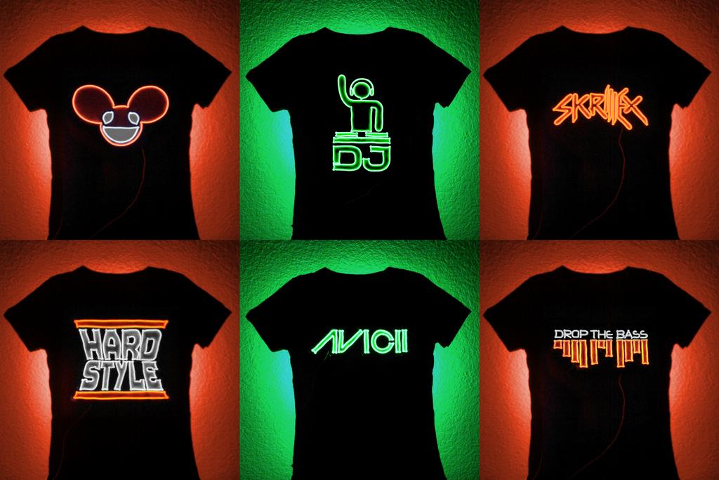 FO\' SALE: EL Wire DJ T-shirt Panels by lux-operon on DeviantArt
