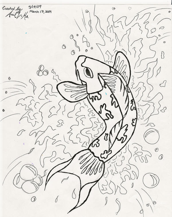 Black and white fish drawings