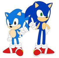 (Fan Art) Classic and Modern Sonic