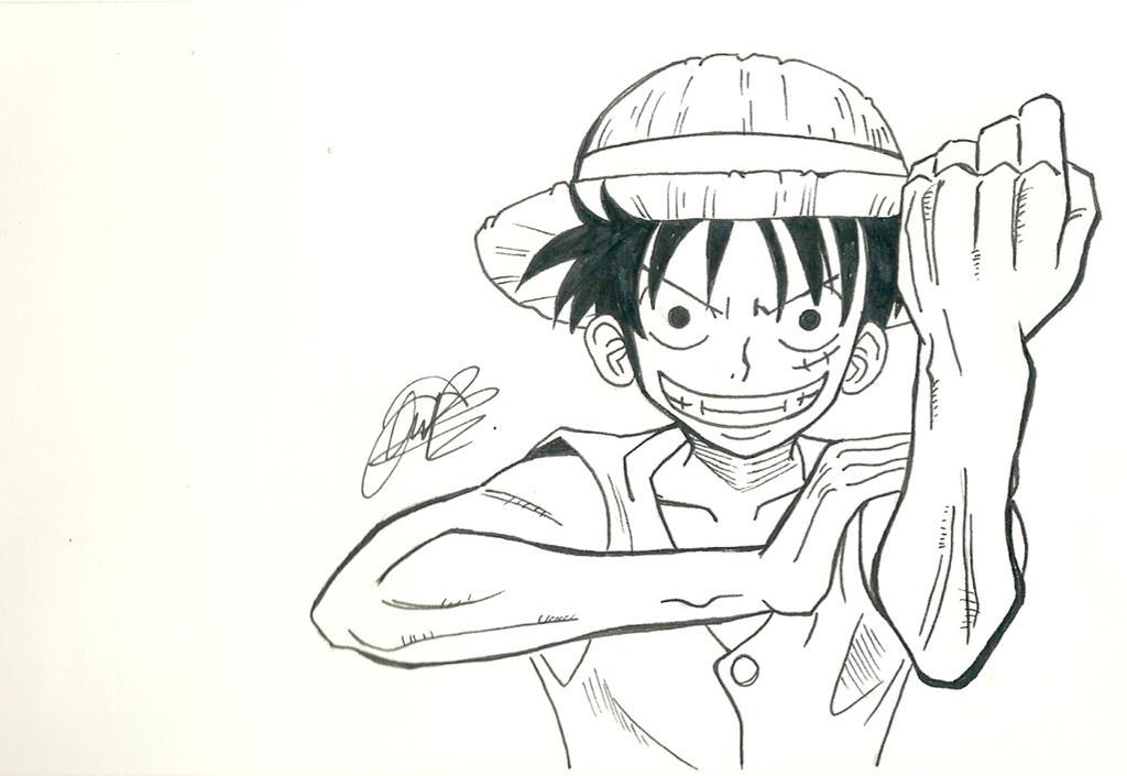 Monkey D Luffy - Black and White by kuraimatsuda on deviantART