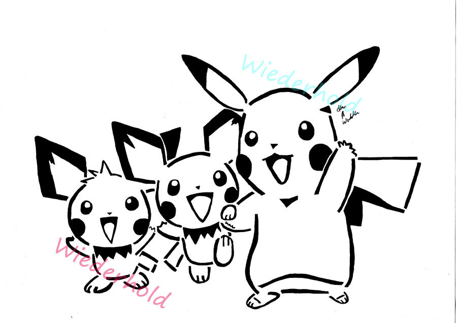 pikachu and pichu's by awiede02